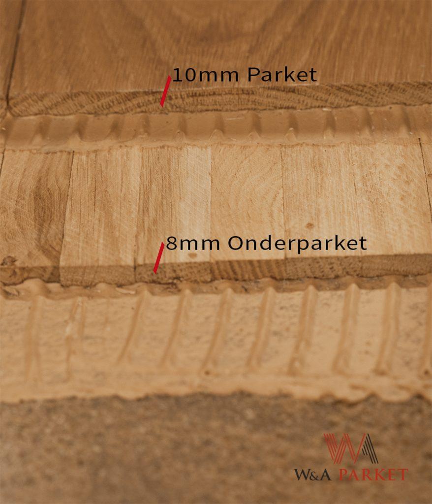 Traditioneel parket -methode van opbouw met staibiliserende onderparket en massief parket van 10mm